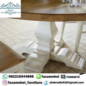 Set Meja Makan Putih Bundar Terbaru